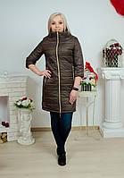 Пальто женское удлиненное коричневое