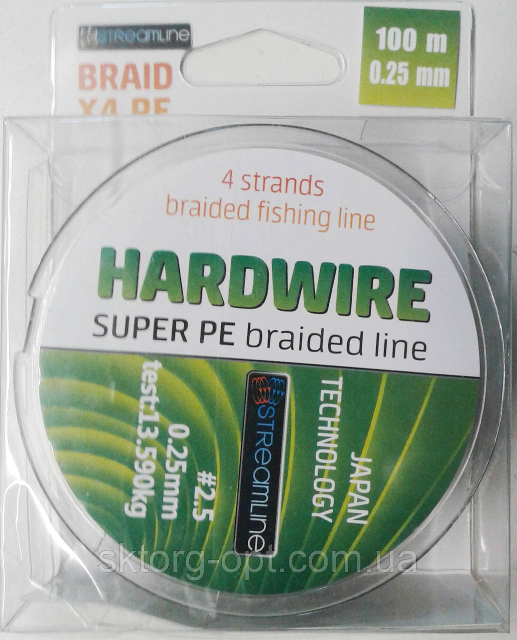Шнур STREAMLINE HARDWIRE 100m 0.25mm dark green 4-жильный