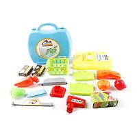 Магазин 2108 касса, корзинка, продукты, 18 предметов, в чемодане
