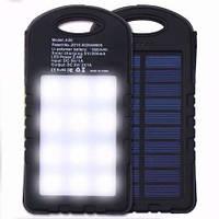 Универсальный аккумулятор Power Bank 35000 мАч с солнечной батареей + LED Фонарь(панель)