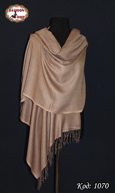 Жаккардовый коричневый шарф