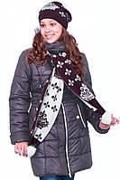 Теплый пуховик в комплекте идет с шарфом