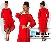 Нарядное женское платье свободного кроя с удлиненной спинкой и декоративными вставками из прозрачной сетки-неопрен красное