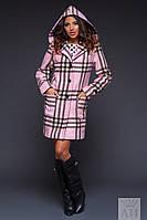 Пальто приталенное с капюшоном, принт-клетка