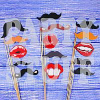 Фотобутафория для фотосессии Усы и губы, 15 шт