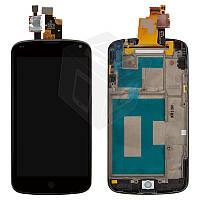 Дисплейный модуль (дисплей + сенсор) для LG Nexus 4 E960, с передней панелью, черный, оригинал