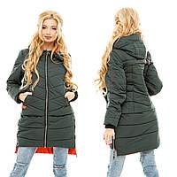 Женская длинная  теплая куртка Хаки с капюшоном