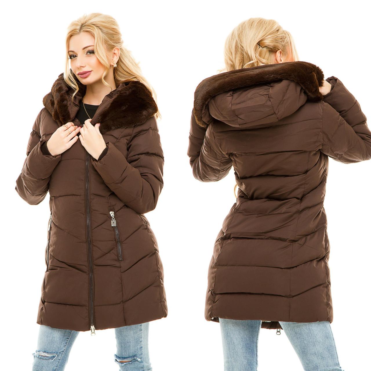2676db3dd66 Женская коричневая теплая куртка с мехом -