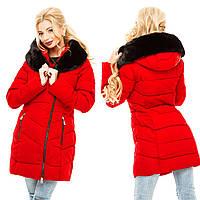 Женская красная теплая длинная куртка с мехом