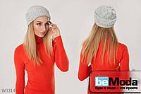 Удобная женская шапка Rioni Sherry L.Grey классическго фасона из приятного материала серая