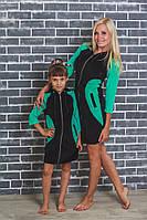 Домашний  велюровый халат зеленый