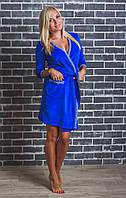 Женский  велюровый халат с поясом электрик