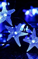 Гирлянда на солнечной батарее Морские звёзды синий 5м, фото 1