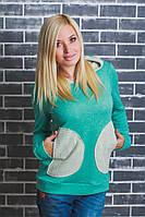 Кофта женская с накладными карманами бирюза