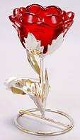 Подсвечник стеклянный Цветок на металлической подставке 16см