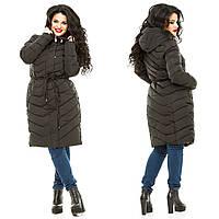 Женская черная теплая куртка больших размеров