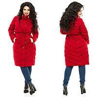 Женское красное  пальто больших размеров