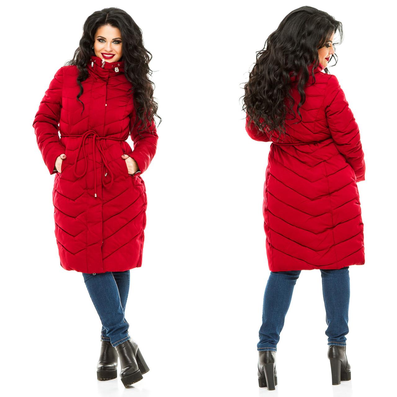 47ca87c4eff45 Женское красное пальто больших размеров -