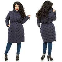 Женское синее пальто больших размеров