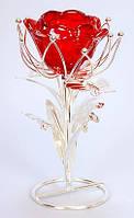 Подсвечник стеклянный Цветок на металлической подставке 19см