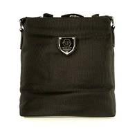 Сумка мужская через плечо Philipp Plein 0881-2 черная текстильная, 25*23*5 см