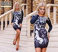 Женское короткое платье с картинкой 3D