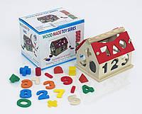 Деревянная игра Дом-Логика с цифрами