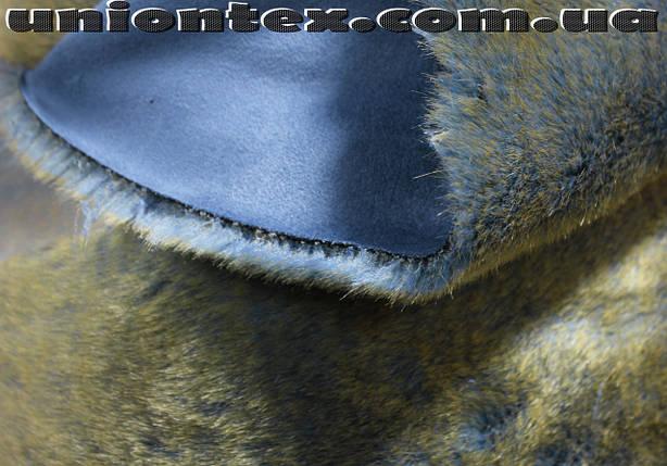 Мех дубляж голубой (голубой мутон с желтыми кончиками+голубая замша), фото 2