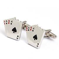 Запонки Покер Poker для игрока карты тузы свадебные запонки стильный аксессуар