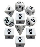 Набор кубиков d00, d4, 4хd6, d8, d10, d12, d20 (белый) T&G   (Dice Set Opaque T&G (10))