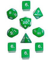 Набор кубиков d00, d4, 4хd6, d8, d10, d12, d20 (зелёный)  (Dice Set Opaque (10))