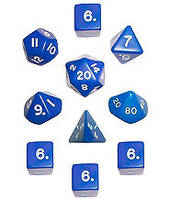 Набор кубиков d00, d4, 4хd6, d8, d10, d12, d20 (синий) (Dice Set Opaque (10))