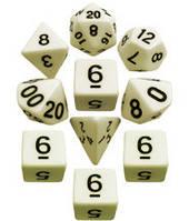 Набор кубиков d00, d4, 4хd6, d8, d10, d12, d20 (слоновья кость) T&G   (Dice Set Opaque T&G (10))