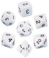 Набор кубиков d00, d4, d6, d8, d10, d12, d20 (белый) (Dice Set Opaque (7) )