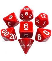 Набор кубиков d00, d4, d6, d8, d10, d12, d20 (красный) T&G  (Dice Set Opaque T&G (7))