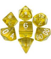 Набор кубиков Кристалл d00, d4, d6, d8, d10, d12, d20 (жёлтый) T&G  (Dice Set Translucent T&G (7))