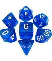 Набор кубиков Кристалл d00, d4, d6, d8, d10, d12, d20 (синий) T&G (Dice Set Translucent T&G (7))