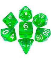 Набор кубиков Кристалл d00, d4, d6, d8, d10, d12, d20 (зелёный) T&G  (Dice Set Translucent T&G (7))