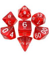 Набор кубиков Кристалл d00, d4, d6, d8, d10, d12, d20 (красный) T&G  (Dice Set Translucent T&G (7))