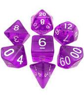 Набор кубиков Кристалл d00, d4, d6, d8, d10, d12, d20 (фиолетовый) T&G  (Dice Set Translucent T&G (7))