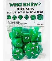 Набор кубиков Нестандарт d3, d5, d7, d16, d24, d30 (зелёный)  (Dice set Who Knew d3, d5, d7, d16, d24, d30)