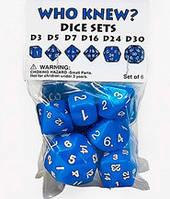 Набор кубиков Нестандарт d3, d5, d7, d16, d24, d30 (синий)  (Dice set Who Knew d3, d5, d7, d16, d24, d30)