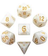 Набор кубиков Перламутр d00, d4, d6, d8, d10, d12, d20 (белый) T&G  (Dice Set Pearl T&G (7))