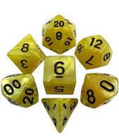 Набор кубиков Перламутр d00, d4, d6, d8, d10, d12, d20 (жёлтый) T&G (Dice Set Pearl T&G (7))