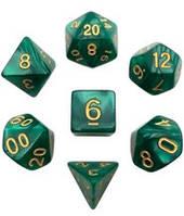 Набор кубиков Перламутр d00, d4, d6, d8, d10, d12, d20 (зелёный) T&G  (Dice Set Pearl T&G (7))