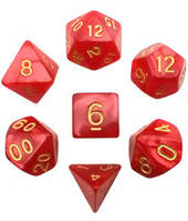 Набор кубиков Перламутр d00, d4, d6, d8, d10, d12, d20 (красный) T&G  (Dice Set Pearl T&G (7))