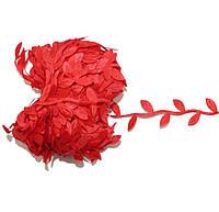 Лента Лиана с листиками Красная 1.7 см Плющ 1 м/уп