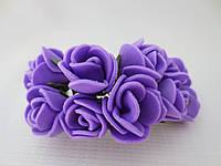Декоративные розы из латекса 12 шт., d 2 см на ножке, сиреневого цвета