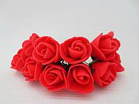 Декоративные розы из латекса 12 шт., d 2 см на ножке, красного цвета