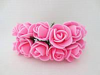 Декоративные розы из латекса 12 шт., d 2 см на ножке, розового цвета, фото 1